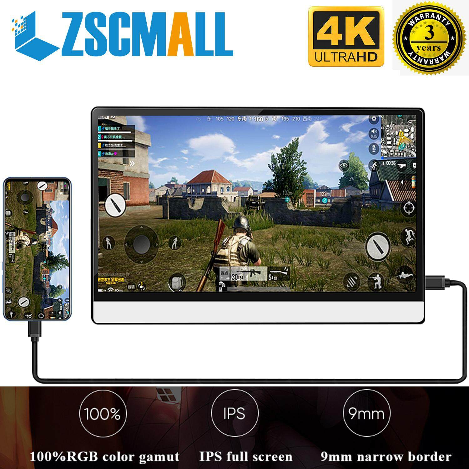 ZSCMALL 13.3   4K Portable Touchscreen Monitor, 3840x2160 IPS HDMI Gaming Monitor compatible for Xbox One Xbox 360 PS3 PS4 WiiU Switch Raspberry Pi Mini PC Laptop 144HZ Malaysia