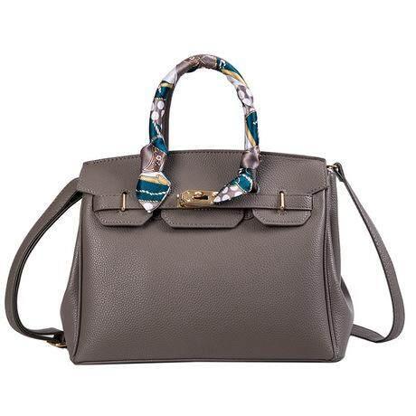 Lychee Pattern Birkin Bag With Personalized Silk Scarf Handbag