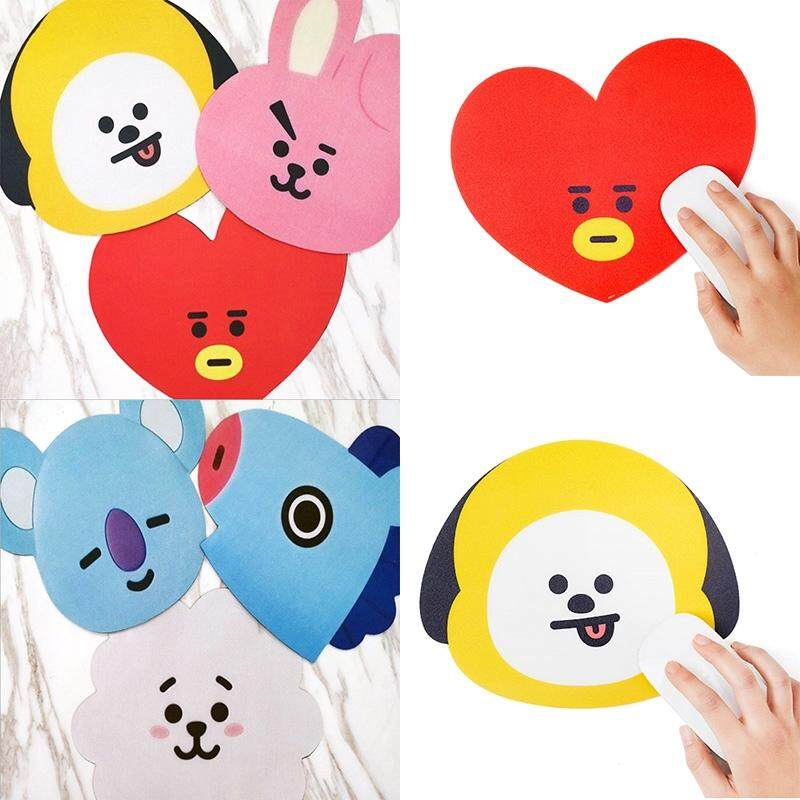 Kpop BTS BT21 Character Shape Silicone Mouse Pad Laptop Game Locking Mouse Mat