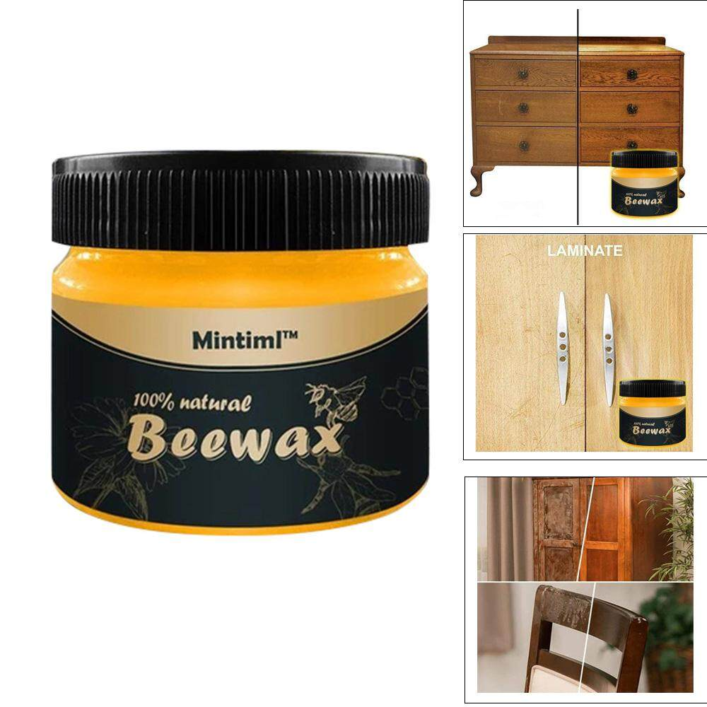 BuyBowie Wood Seasoning Beewax Polish for All Natural Wood Seasoning Beeswax Furniture Polish Complete Solution Furniture Care Beeswax,Protect Enhance The Shine