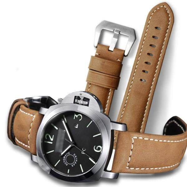 Watchbands Retro Genuine Leather Brown Men 20mm 22mm 24mm 26mm Soft Watch Band Strap vintage black leather watch strap watch accessories watch bracelet for Panerai watch band Malaysia