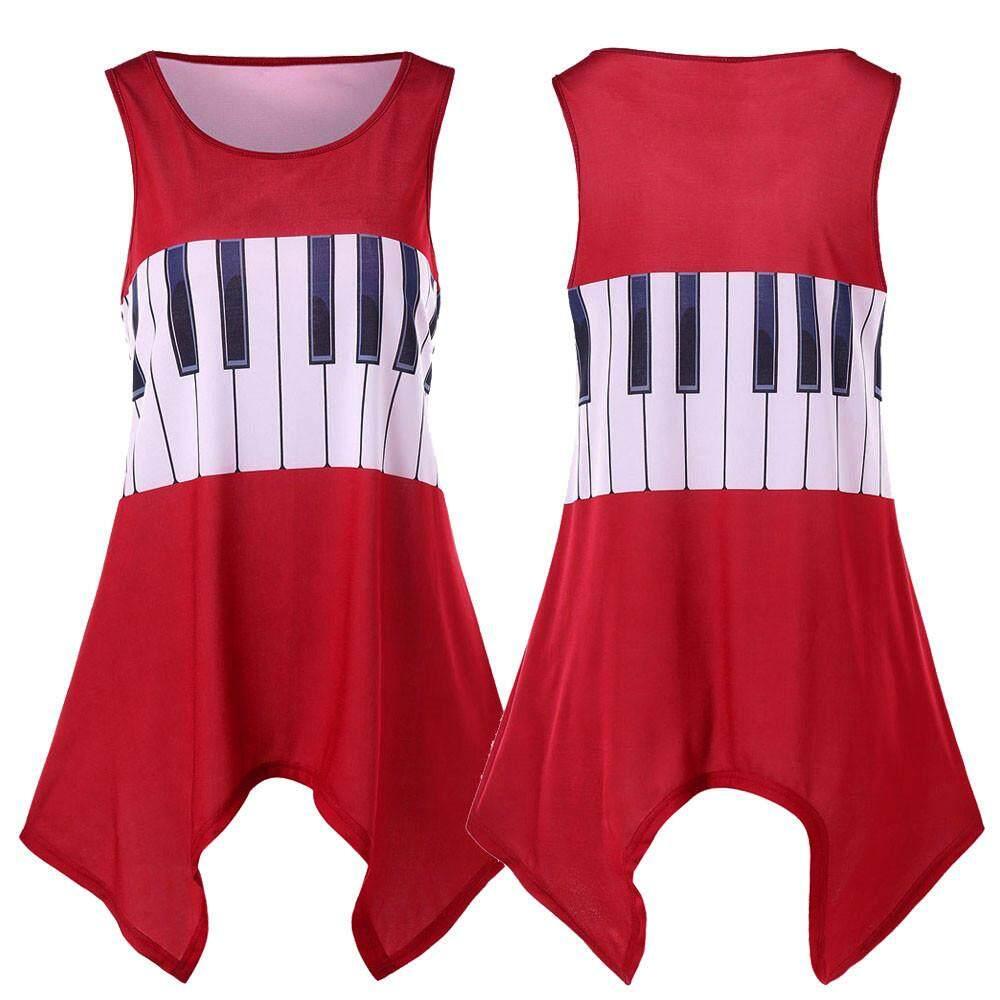 9d1054f68e6 Opentenes Women Casual Musical Note Printing Shirt Sleeveless Vest Tank  Tops Blouse