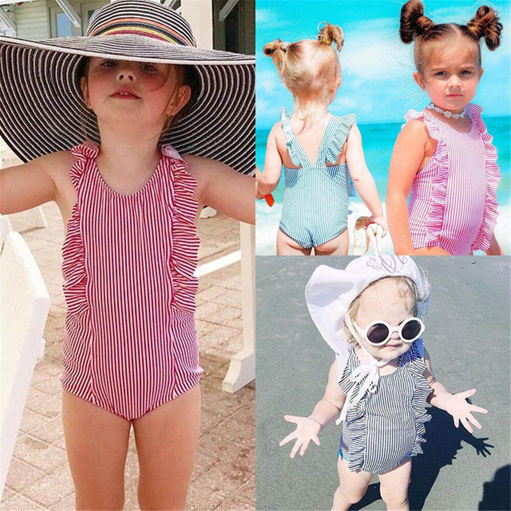 779d14c9f1 Cute Newborn Baby Girls Striped Swimwear Swimsuit Bikini Bathing Suit  One-Piece