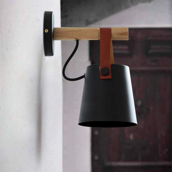 Wall Sconce Lighting Fixture,Black Industrial Bedroom Bedside Wall lamp Brown Leather and Wood Bathroom Vanity Mirror Lighting fixtures