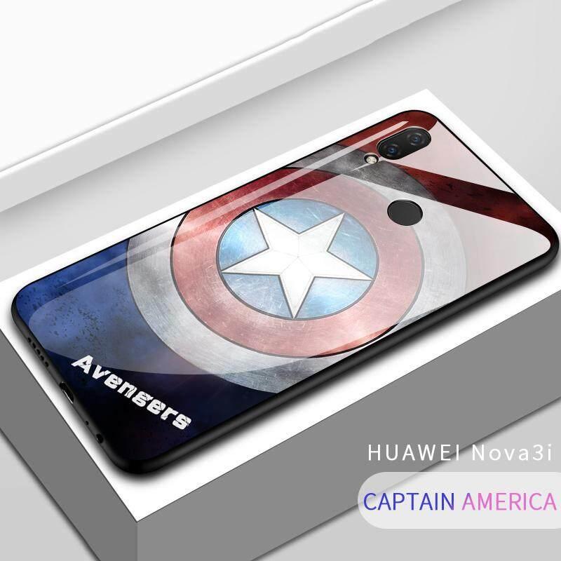 3fd9ab6204 Marvel Avengers Superhero Ironman Spiderman Shockproof Phone Case Back Glass  Cover For Huawei Nova 3i/