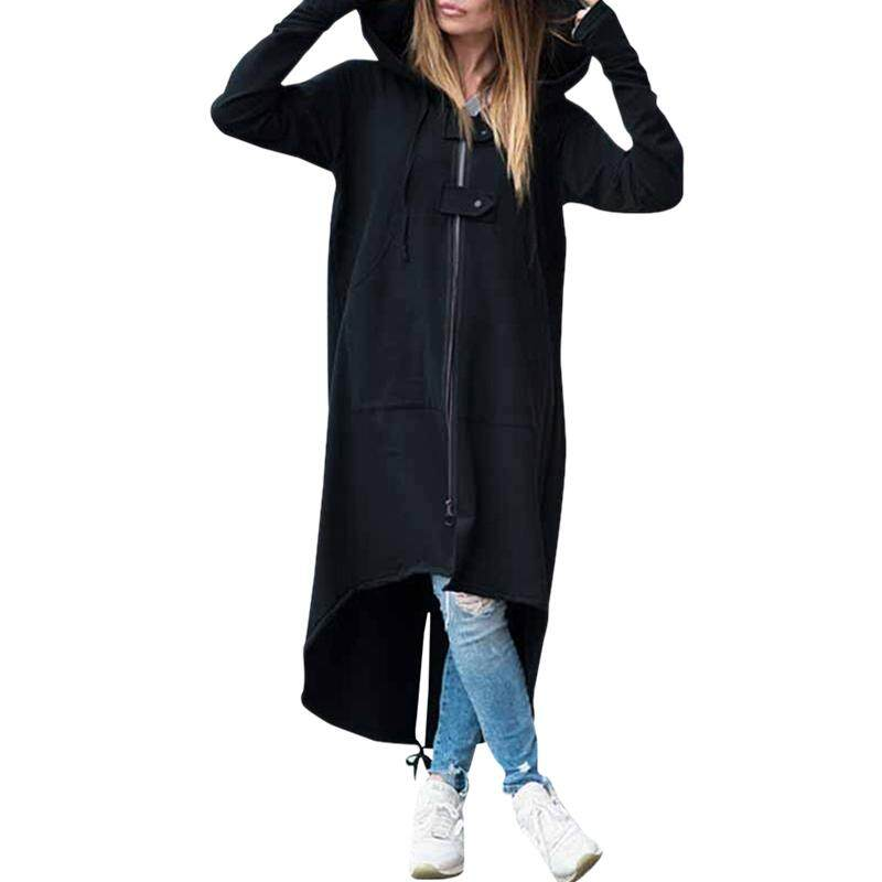 Women Fashion Loose Long Sleeve Zipper Warm Hooded Long Coat Ladies Casual Solid Irregular Long Sweatshirt Jackets Outwear Tops Plus Size Black XXL