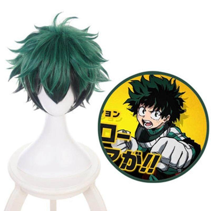 Dingyou My Boku no Hero Academia Izuku Midoriya Short Green Black Heat Resistant Cosplay Costume Wig image