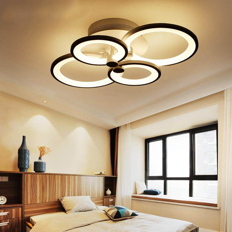 LED ceiling light , ceiling lamp in Nano light guide plate, 4-flames with Circle light , 55 Watt, 2915 lumens, light color 3000 Kelvin (warm white), design for living room, bedroom, kitchen