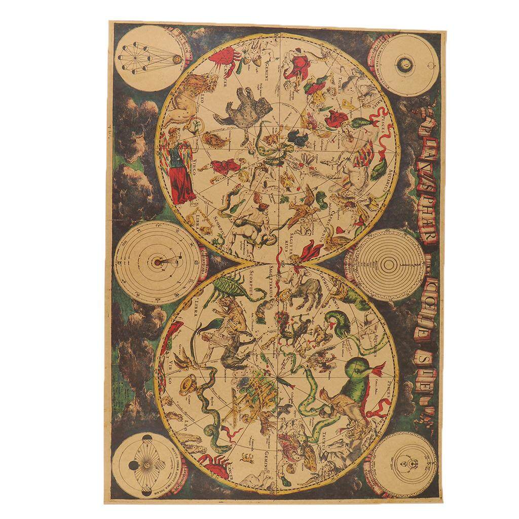 BolehDeals Nostalgic Retro Brown Paper Map of the Zodiac Vintage Home Kraft Decoration