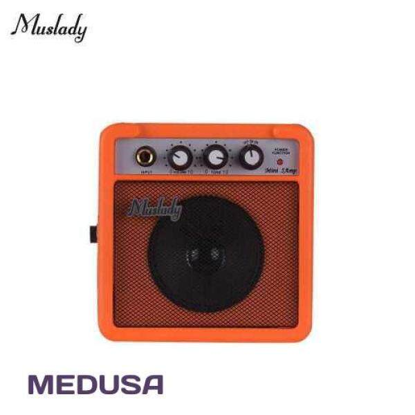 [ MEDUSA ] Muslady 5W Mini Guitar Amplifier Amp Speaker with 3.5mm & 6.35mm Inputs 1/4 Inch Output Supports Volume Tone Adjustment Overdrive (Orange) Malaysia