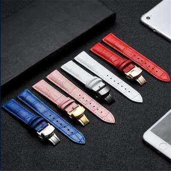 14-20/22/24 มิลลิเมตรที่มีสีสันผีเสื้อจับมือสายนาฬิกาข้อมือหนังแท้สตรีนาฬิกาข้อมือสายรัดสแตนเลสของขวัญเทศกาล