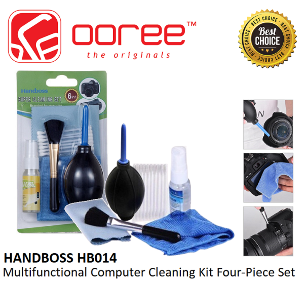 HANDBOSS HB014 6IN1 LCD LED MONITOR SCREEN CLEANING SET BLOWER + LIQUID SOLUTION + BRUSH + LCD SOFT CLOTH + COTTON BUDS + CLEANSING CLOTH FOR DESKTOP PC, LAPTOP, NOTEBOOK, MOBILE, KEYBOARD CLEANER, DUST CLEANING, KILL GERMS & ABSORBS DIRT
