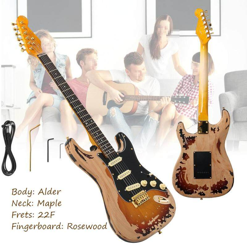 NEW Top Quality Relic SRV Electric Guitar Eged Hardware Alder Body Sunburst Malaysia