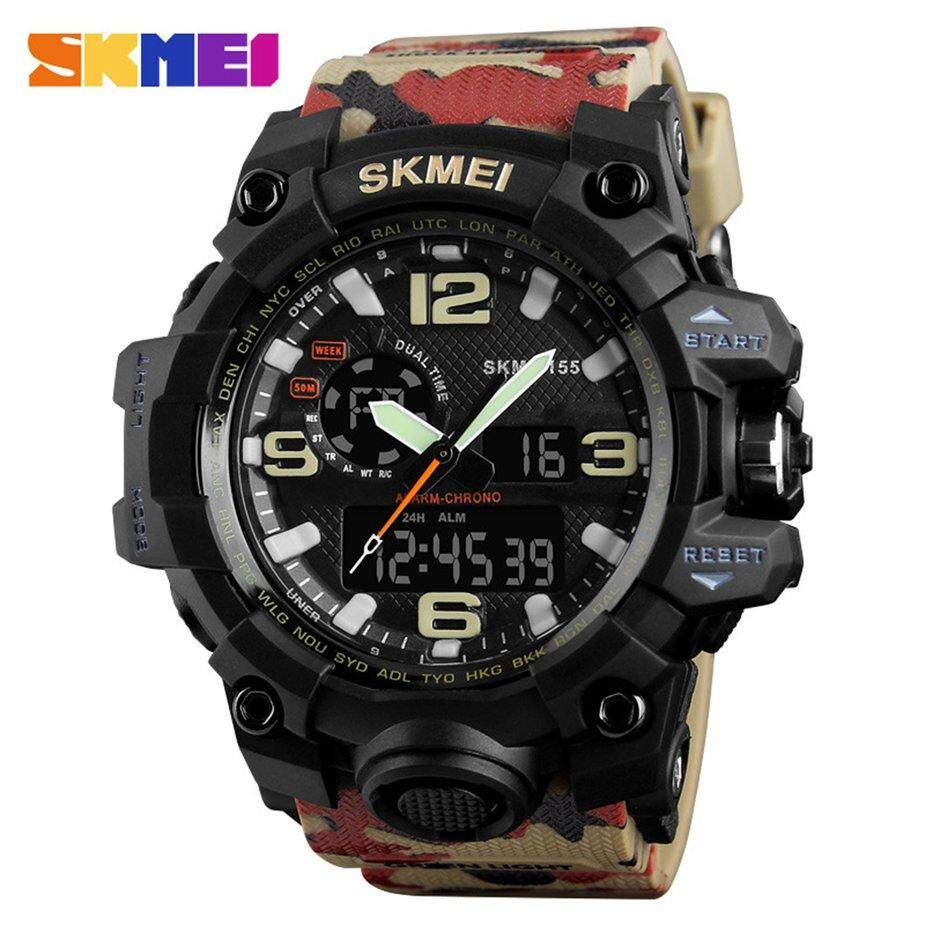 Hot Sale SKMEI 1155 Camouflage Color Men Sports Watch Luminous Men Pointer Digital LED Watch 5ATM Waterproof Military Wristwatch Malaysia