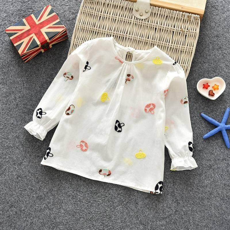 29ac3989f5079 Casual Girls Floral Cotton T-shirt Children Clothes Baby Long Sleeve Tops  Tees Blouse
