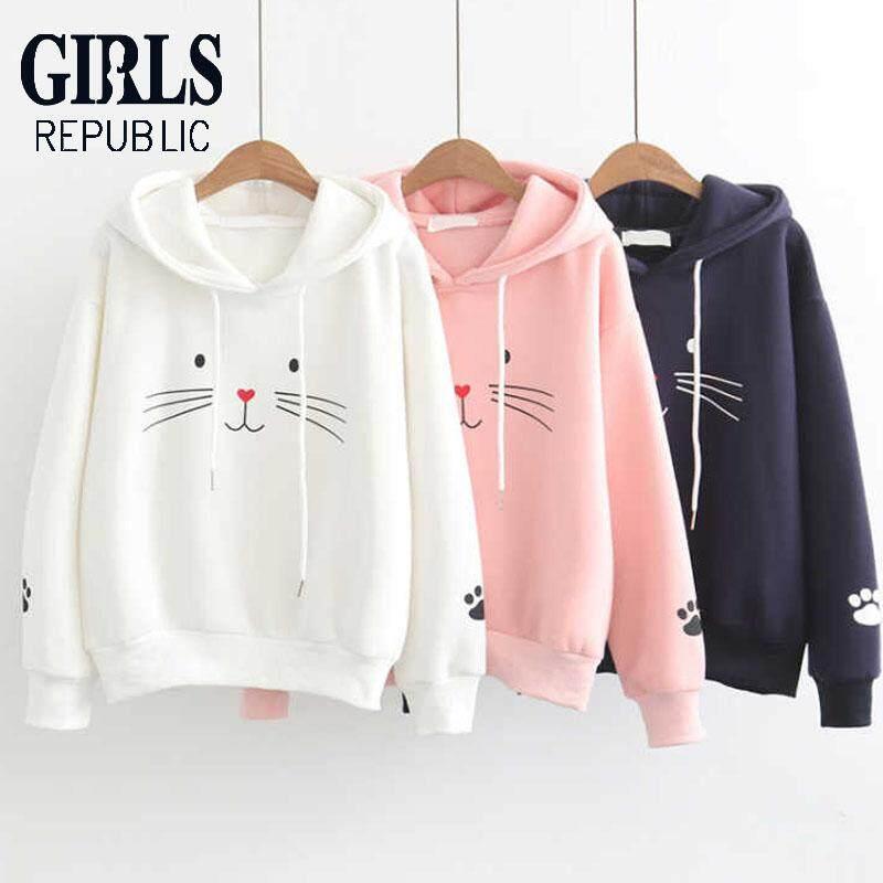 d1aa8cf997d Girls Republic Women s Sweater Cat Print Long Sleeve Hoodie Korean Thick  Jacket