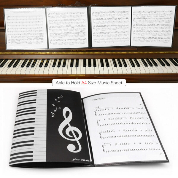 Black Sheet Music Folder A4 Size Storage Holder Binder for Stage Musical Instrument Piano Performance Malaysia
