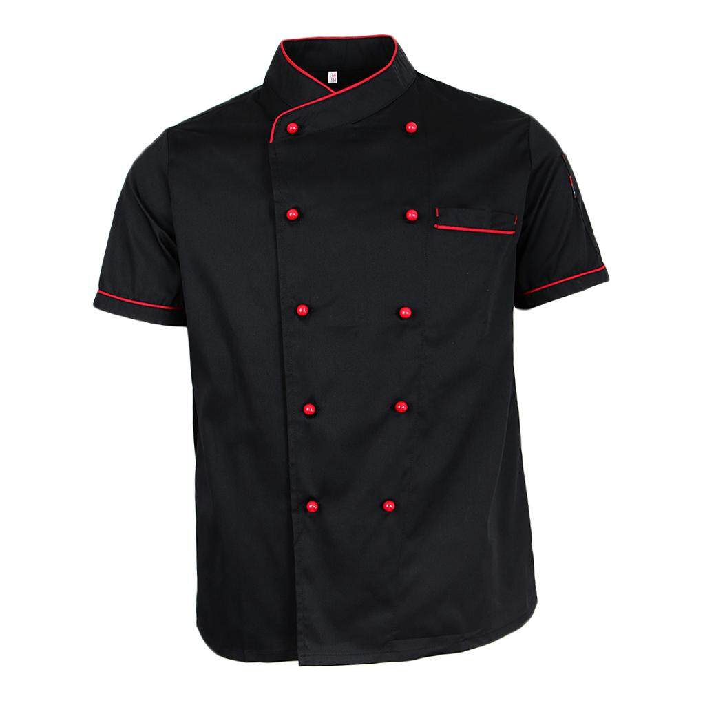 Blesiya Black White Chef Jacket Uniform Short Sleeve Hotel Kitchen Chefwear Cook Coat