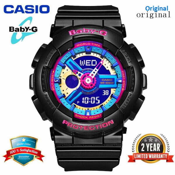 (HOT SALE) Original Baby G BA112 Women Sport Watch Dual Time Display 100M Water Resistant Shockproof and Waterproof World Time LED AUTO Light Girl Wrist Sports Watches with 2 Year Warranty BA-112-1A (Ready Stock) Malaysia