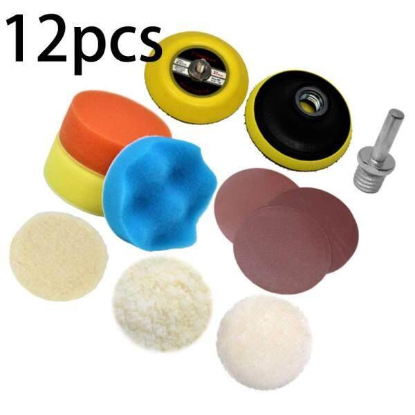 12Pcs/Set Sandpaper Disc Drill Adapter Polishing Plate Sanding Buffing Woolen Sponge Pads For Furniture Car Polisher
