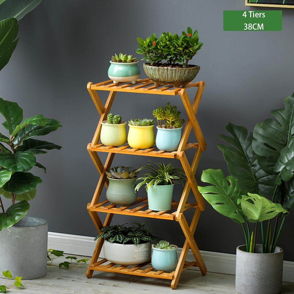 Mu Ma Ren 4 Tiers 38CM Length Floor flower shelf solid bamboo wood indoor multi-layer folding flower stand Renting/Decoration