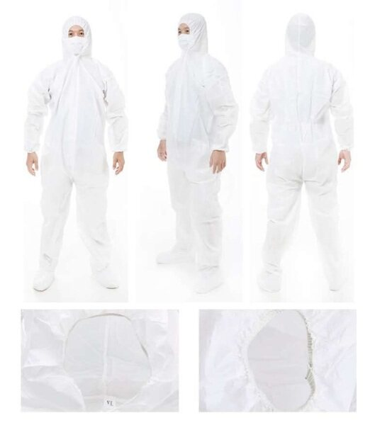 Ready Stock PPE Suit Coverall Jump Suit PP Non Woven 40gsm Head to Toe Shoe Cover Disposable protective clothing White PPE