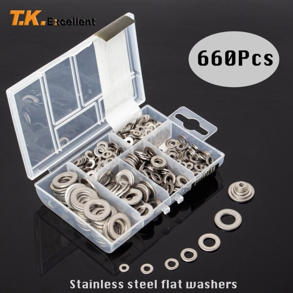 660PCS Flat Washer 304 Stainless Steel Washers For home improvement Assortment Set Value Kit