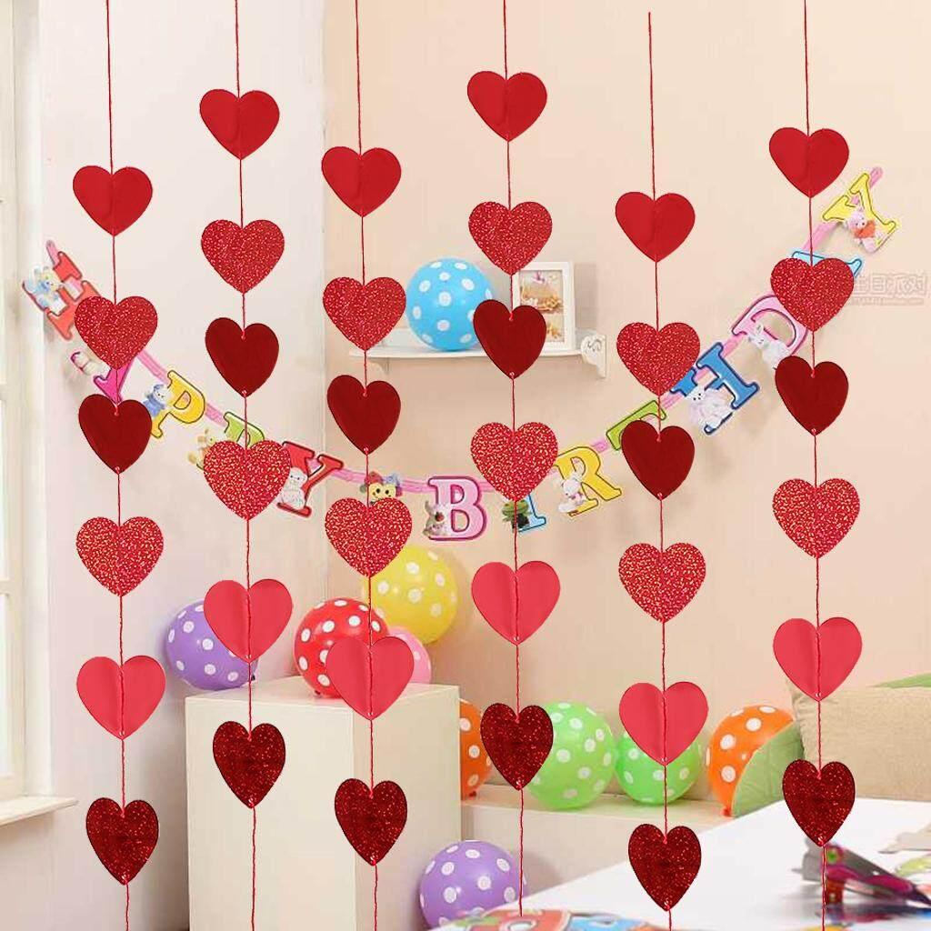 Loviver Romantic Paper Hanging Garlands String Banner Valentine's Day Decoration
