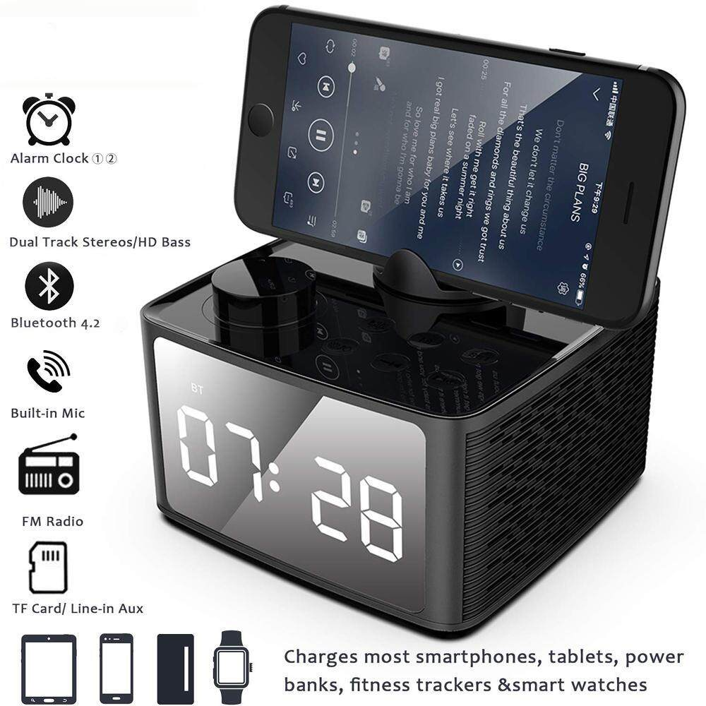 Alarm Clock Radio Wireless Bluetooth Speaker with FM Radio & Cell Phone  Stand, 4