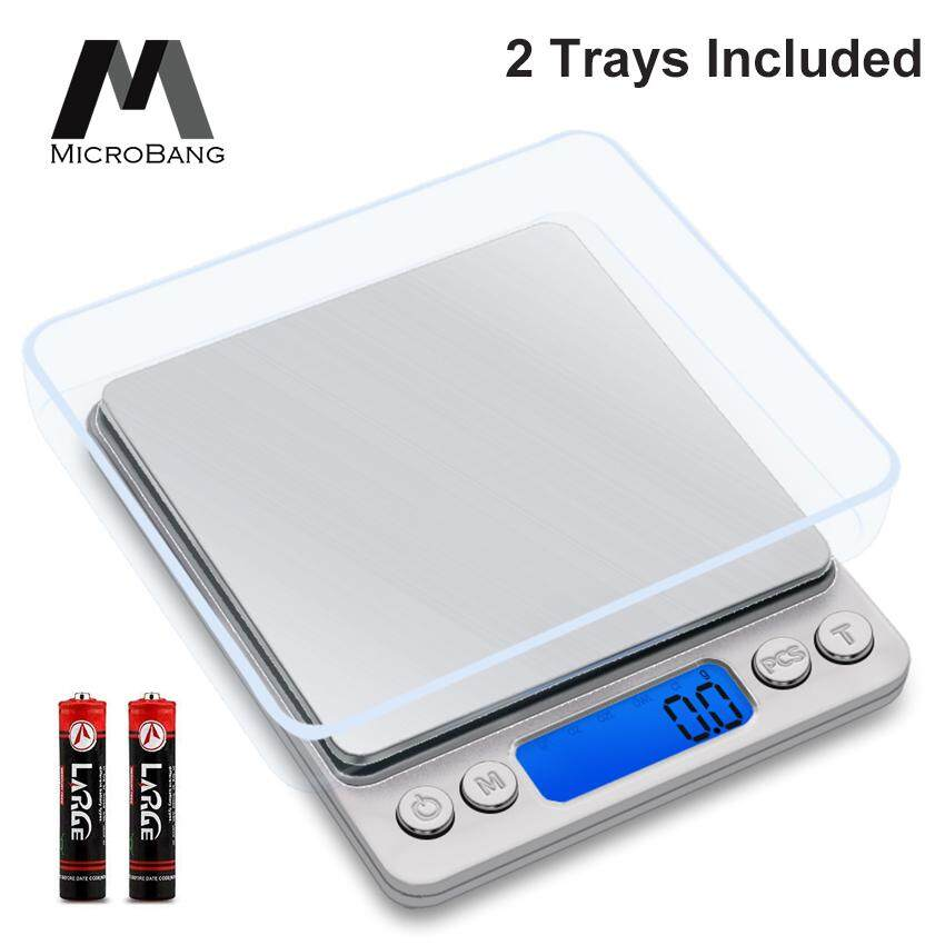 MicroBang Digital Kitchen Scale, Pro Pocket Scales, 3000g 0 01oz/ 0 1g Mini  Food Weight Scales with 2 Trays, Electric Jewelry Scales with Back-Lit LCD