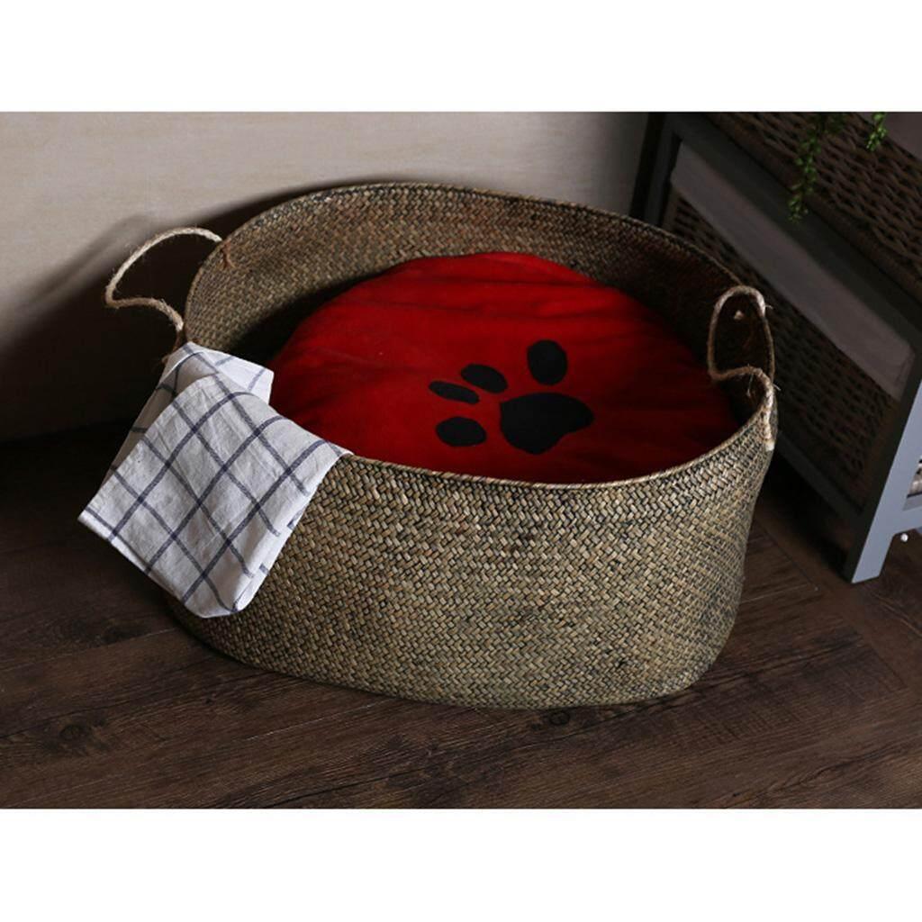 Loviver Seagrass Belly Basket Storage Plant Pot Foldable Nursery Laundry Bag Decor