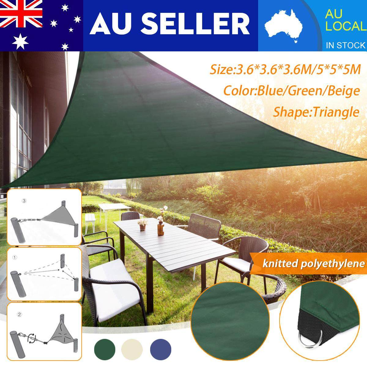 【Free Shipping + Super Deal + Limited Offer】5M/3.6M UV Sun Sail Proof Triangle Outdoor Patio Canopy Top Shelter Yard Cover