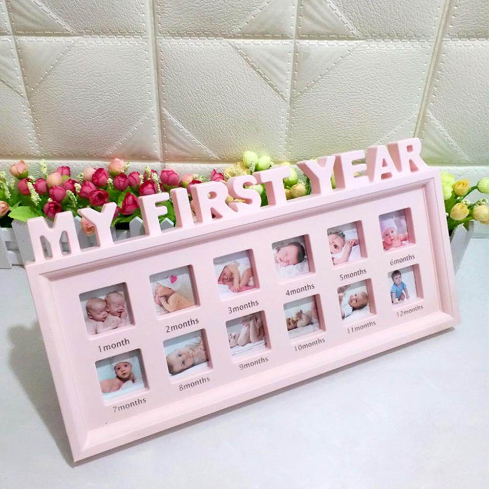 12 Months Newborn Baby Crafts Desktop My First Year Picture Display PVC Home Decor Girls Boys Growth Record Photo Frame