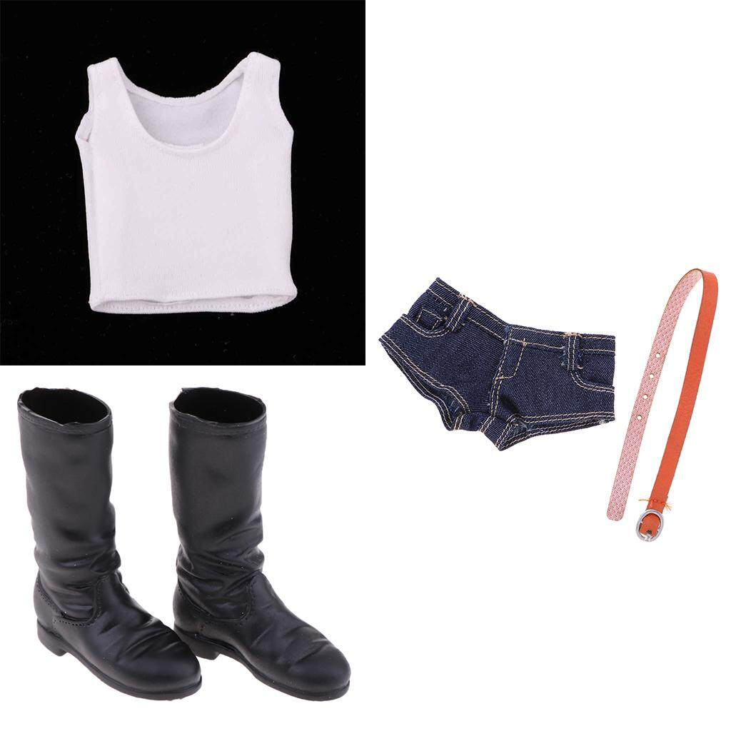 Kesoto 1/6 Scale Female Tank Top & Jean Shorts & Knee Boot for 12inch