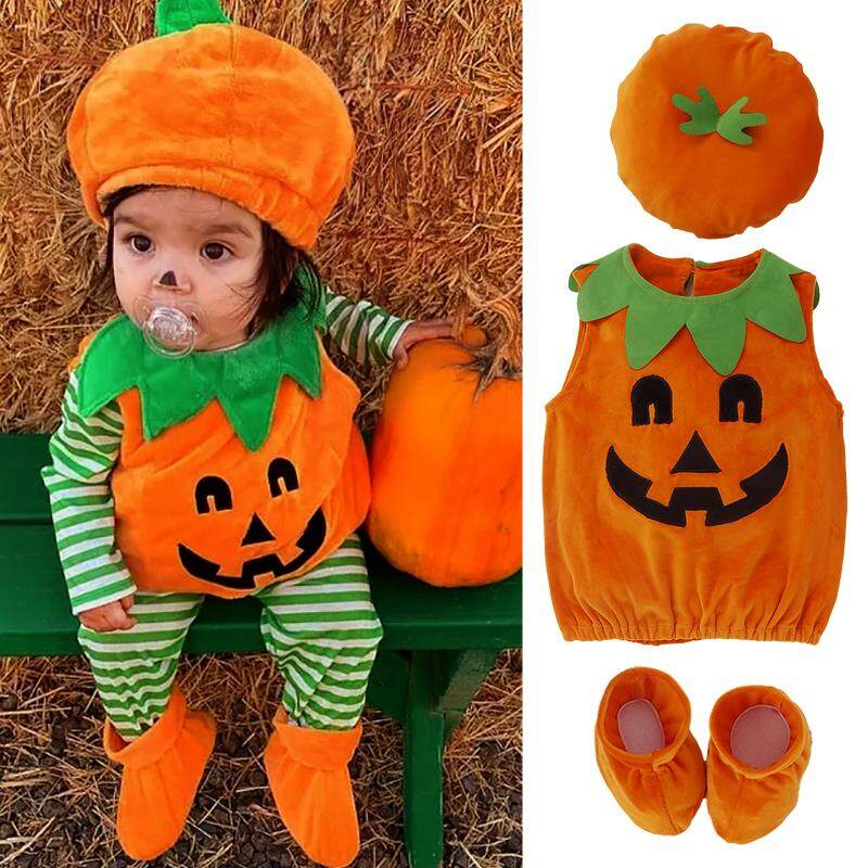 Toddler Infant Baby Boy Girl Pumpkin Halloween Costumes Romper Bodysuit Outfit with Hat 0-3T (3pcs Halloween Costume Set
