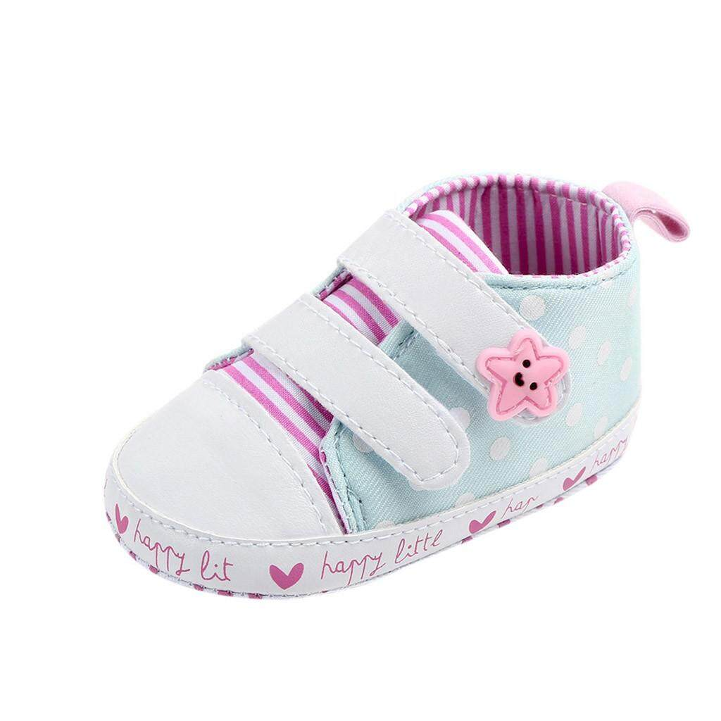 106aae0319e Rayeshop Newborn Baby Girls Striped Star Dot Canvas First Walkers Soft Sole  Shoes Reference size