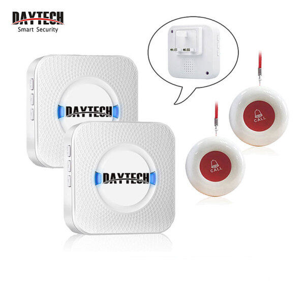 DAYTECH Calling System Pager UK Plug Caregiver Pager Smart Call System for Patient/Elderly/Home/Nursing Home/Hospital 2 Receiver With 2 Call Button CC01