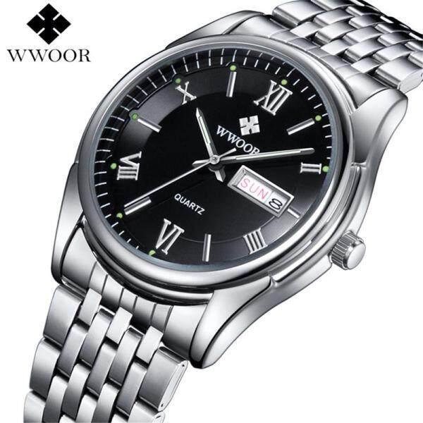 WWOOR Men Watch Fashion Quartz Business Clock Mens Top Brand Luxury Casual Sports Full Steel Waterproof Military Date Week Wrist Watches Malaysia