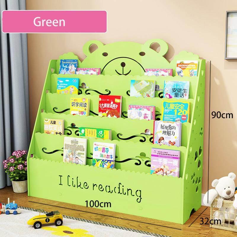 100x32x90cm, 5 Tiers Wood-Plastic Composites Storage Shelf, Kids Bookcase, Floor Bookshelf with Book Shelves, Bear Pattern