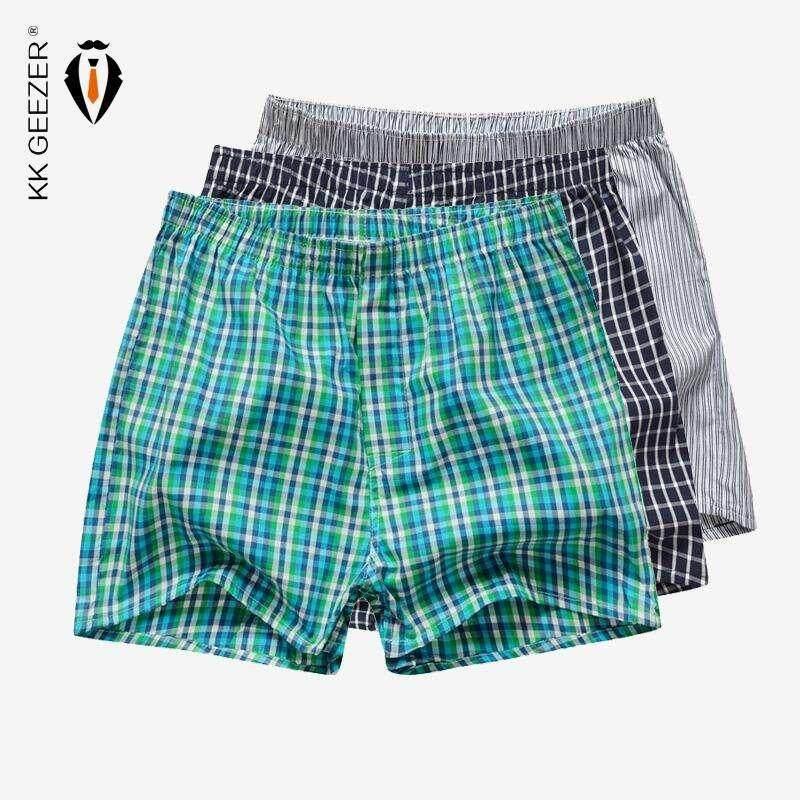 Kk Geezer Mens 3 Pcs/lot Cotton Underwear Men Plaid Boxer Sleep Bottoms Shots Underpants Brand Top Quality Loose Mans Casual Homewear Panties By Kk Geezer.