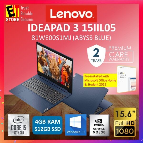 LENOVO IDEAPAD 3 IP3-15IIL05 81WE00S1MJ LAPTOP -ABYSS BLUE (I5-1035G1/4GB/512GB SDD/15.6 FHD/NO ODD/MX330 2GB/W10/2YRS PREMIUM) WITH MS.OFFICE Malaysia