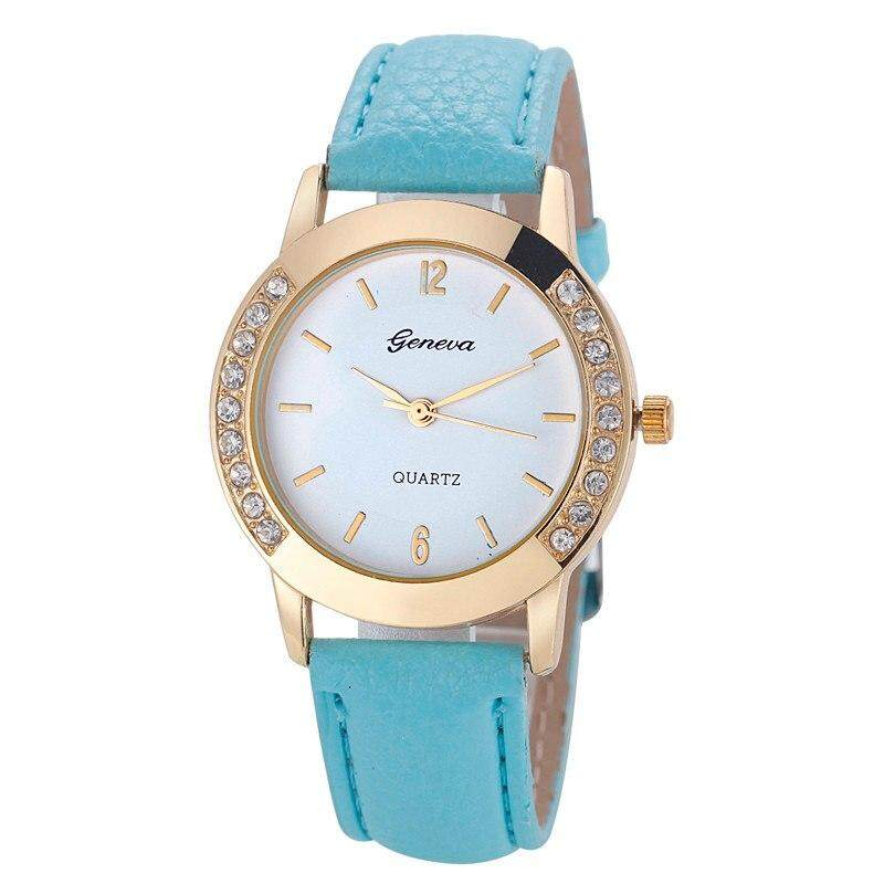 A133 Geneva Diamond PU Leather Quartz Woman Women Lady Wrist Watch Watches Elegant Fashion Malaysia