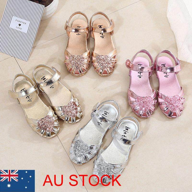 Kid Girl Ballet Shoes Ankle Strap Flat Sequins Sandals Party Dress Princess Shoe By Akefun.