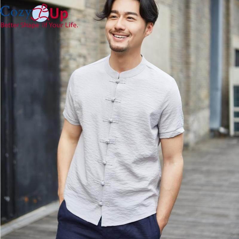 YUNY Mens Mandarin Collar Long-Sleeve Solid-Colored Casual Button Shirts Grey L