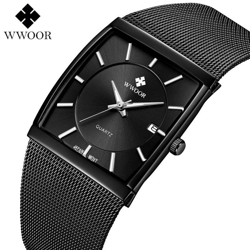 WWOOR Mens Watches Fashion Quartz Steel Mesh Strap Business Watch Men Top Brand Luxury Square Dial Waterproof Sports Military Date Analog Clock Malaysia
