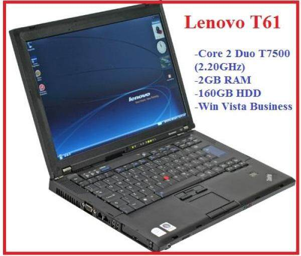 (Refurbished) Lenovo T61 Core 2 Duo T7500 2.20GHz / 2GB Ram / 160GB HDD / Win Vista Business Laptop Malaysia