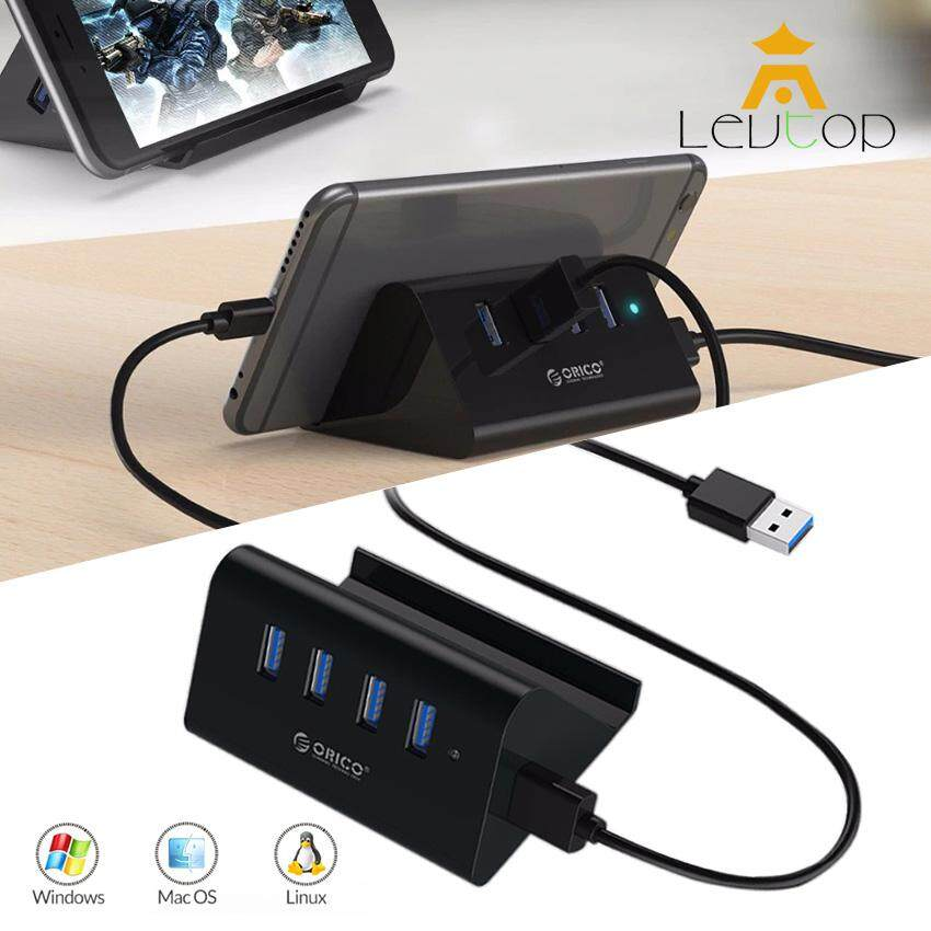 LEVTOP USB Hub 3.0 External 4 Ports USB Splitter with Phone and Tablet Holder Micro USB Power Port for iMac Computer Laptop Accessories 5Gbps Super Speed Transmission