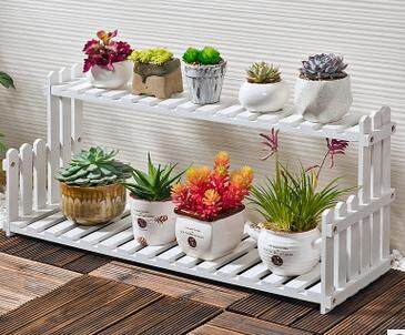 Double Tiers Wooden Desktop Potted Plant Flower Holder Storage Rack Shelf Organizer