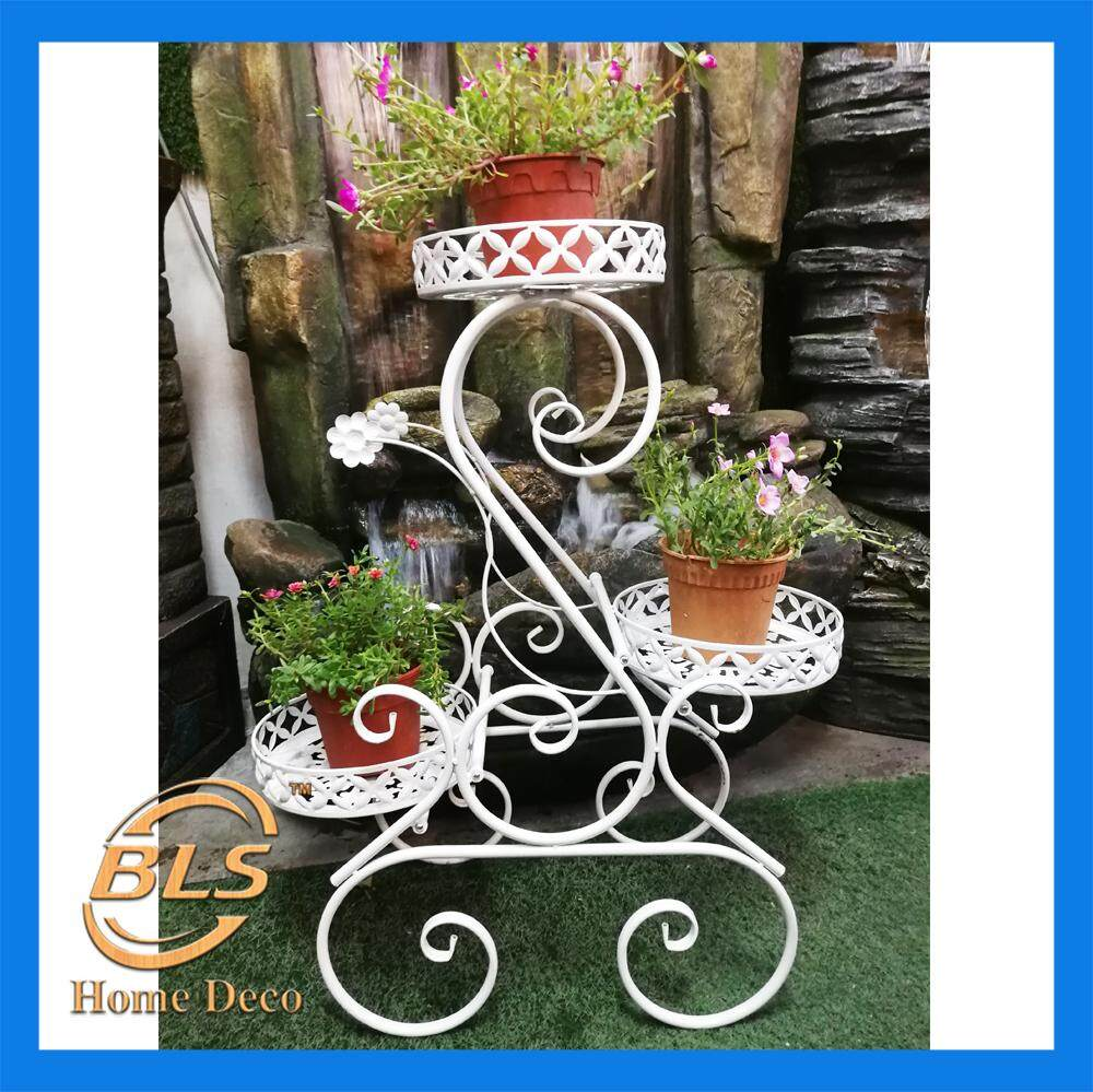 HEIGHT 80CM WHITE COLOR 3 LAYER EUROPEAN STYLE FLOWER RACK IRON STAND YA8006