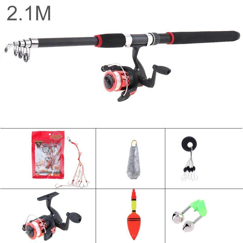 2 1M / 2 4M / 2 7M / 3 0M Fishing Rod Reel Line Set Full Kits Spinning Reel  Pole Set with Fishing Float Hooks Beads Bell Lead weight